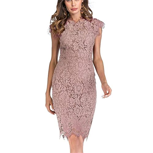 8bdb7a9354 Women s Sleeveless Floral Lace Slim Evening Cocktail Mini Dress for Party  DM261