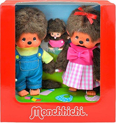 Sekiguchi 254870 - Original Monchhichi Mädchen und Junge mit Baby im Set, aus braunem Plüsch, mit Outfits