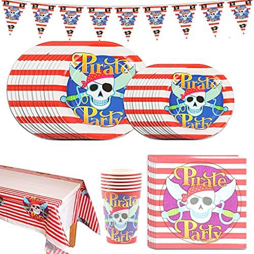 Decoraciones de Fiesta de cumpleaños Pirata, Set de Fiesta Birthday Pirate, Pirata Artículos Fiesta Niño Incluye Pancarta, Platos, Vasos, Cubiertos, Servilletas, Mantel, Cucharas, Tenedores y Cuchilos