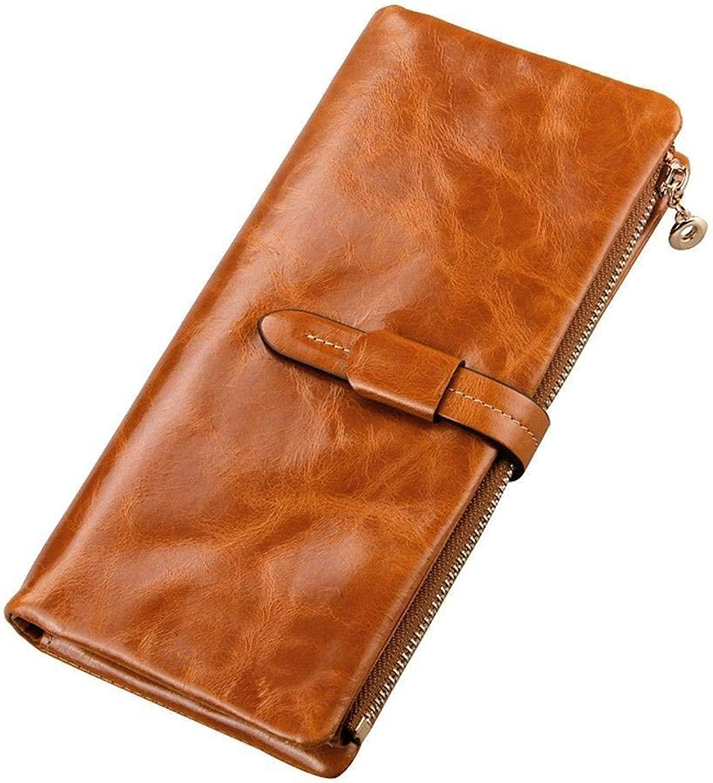 Ladies Handbag Oil Wax Leather Lady Purse Fashion Belt Female Wallet Leather Hand Bag 18.5cmx9.3cmx2cm (color   Brown)