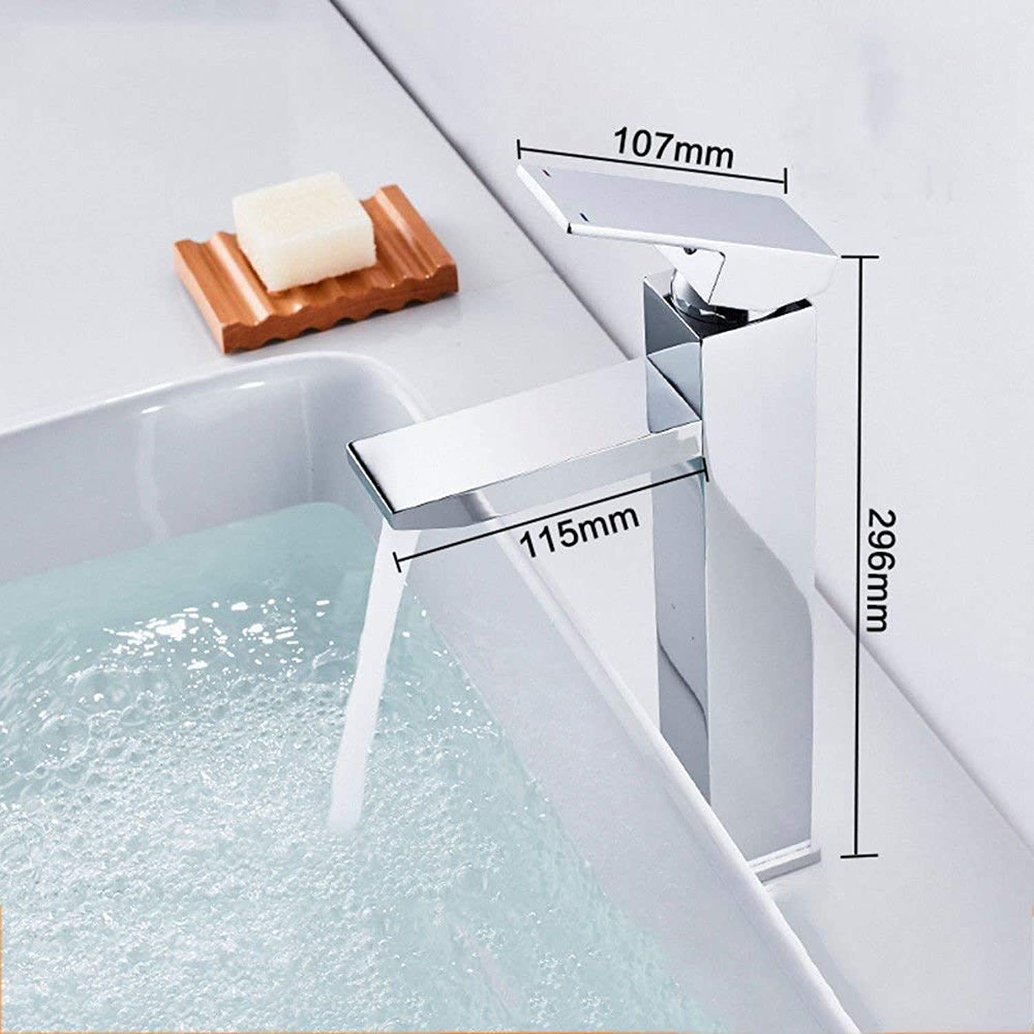 Oudan Basin Mixer Tap Copper hot and cold water faucet basin faucet bathroom single hole with high surface of the tub faucet square European faucet kitchen faucet chrome,A1 (color   A2)