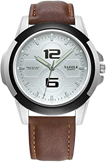 K-Martins Mens Wrist Watch -Quartz Analog Roman Numeral with Classic Brown Leather - Waterproof 10 Years Batteries - Fashion Casual Unique Dress - Business Office Work School Watches
