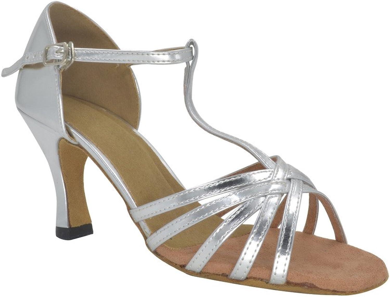 Misu Women's Peep Toe Sandals Latin Salsa Tango Practice Ballroom Dance shoes with 3.0  Heel Silver