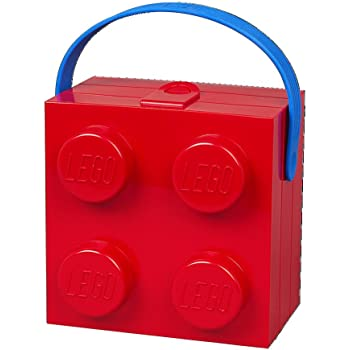 Lunch Box W. Handle (4 Knob) - Classic, Bright Red