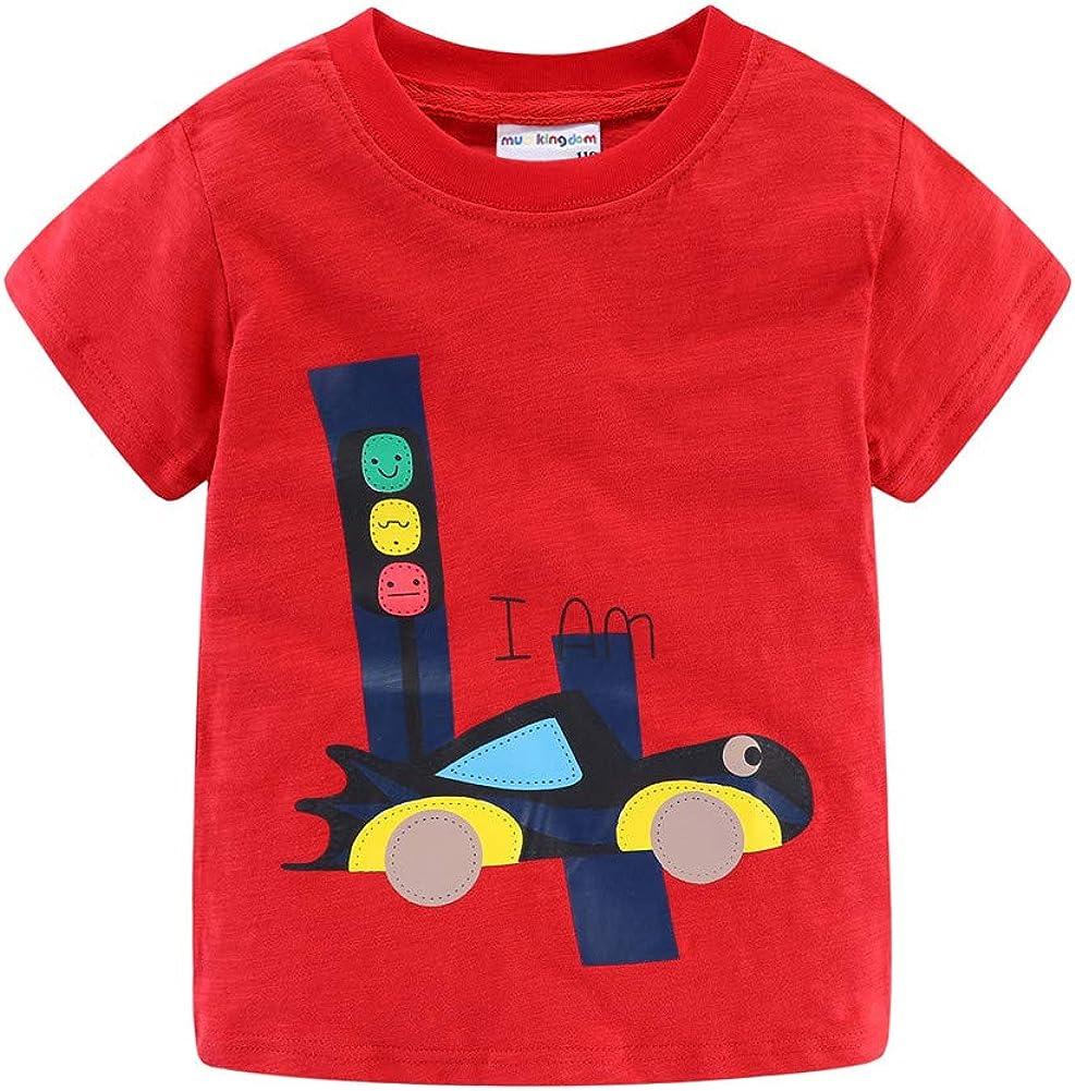 Mud Kingdom Little Boys Girls Birthday T-Shirt Cute Cartoon Summer