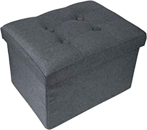 Yummargot Foldable Storage Ottoman Footrest Seat Coffee Table Multipurpose Foot Rest Stool Cube Ottoman for Living Room Bedroom and Hallway Grey L16W12H10inches