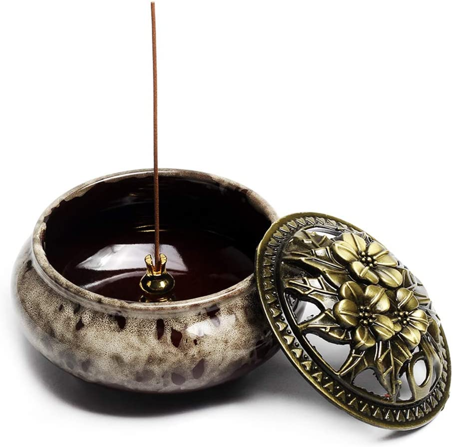 XIAOYY Incense Burner with Calabash Incense Stick Holder Porcelain Charcoal Censer for Use with Resin Granular Powder Cone or Coil Incense Blue