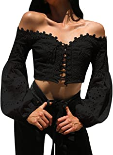Women Off Shoulder Long Sleeve Hollow Lace Loose Blouse Tops T-Shirt