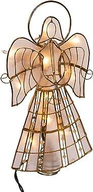 Kurt Adler 10-Light Capiz Angel Treetop with Vines and Pearls, 9.75-Inch