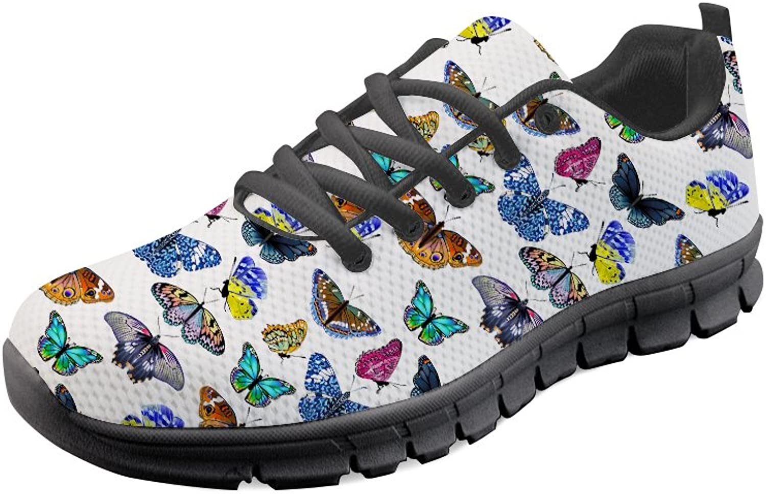 HUGS IDEA Women Girl Running shoes Butterfly Print Lightweight Sport Sneakers
