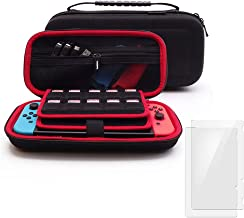 Soyan Carry Case for Nintendo Switch with 2 Pack Tempered Glass Screen Protectors, Built-in Game and Accessories Storages ...