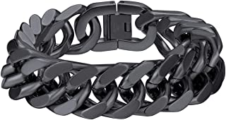 Bandmax Men Women 316L Stainless Steel Link Chain Bracelet 5/8/12/17MM Width Customized Heavy Thickness Chunky Curb Cuban ...