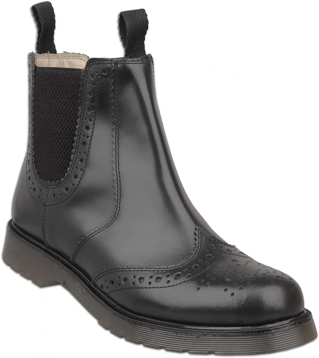 Grafters Mens Black Leather Brogue Boots