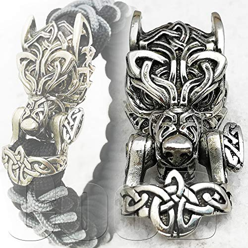 CooB EDC Hand-Casted Paracord Buckle Shackle Bead Celtic Wolf Fenrir. Luxury Paracord Buckles Shackles Beads Locks for Cusom Bracelets Making 1pcs/Lot (Wolf Celtic Silver)