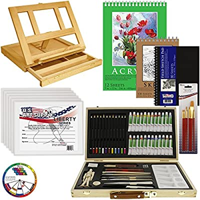 U.S. Art Supply 68-Piece Artist Acrylic Painting Set with, Table Easel, 24-Acrylic, Colored Pencils, Graphite Pencils, Sketch & Painting Pad, Canvas Panels, Brushes & Everything to Get You Started