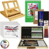U.S. Art Supply 68-Piece Artist Acrylic Painting Set with, Table Easel, 24-Acrylic, Colored Pencils, Graphite...