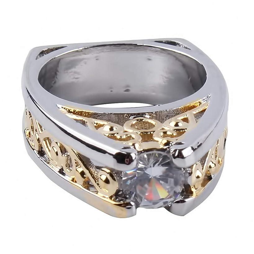 ポゴスティックジャンプインチにじみ出るSperrins婚約カップルリング幾何学的なクリスタルバンドリング用女性男性婚約結婚指輪ジュエリーギフト(サイズ7)