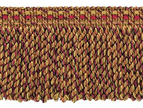 DecoPro Rouge Cerise, Camel Beige, Clay|76 mm décoratifs Lingot Fringe|Sold au mètre (91 cm) |Style # : Bfv3|Color : Vnt21 – Canneberge Taupe