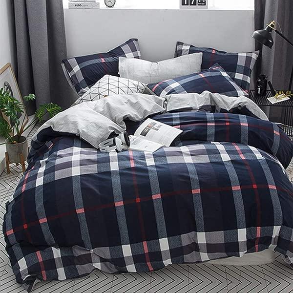 CLOTHKNOW Navy Plaid Tartan Duvet Cover Sets Full Queen Blue Plaid Men Checkered Bedding Set Boys 100 Cotton 3 Pcs With Zipper Closure 1 Comforter Cover 2 Envelope Pillowcases