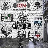 Mural De Papel Tapiz 3D Sports Gym Papel Tapiz Estante Graffiti Taekwondo Boxeo Fondo De Pantalla Músculo Hombre Pared De Ladrillo Mural Personalizado