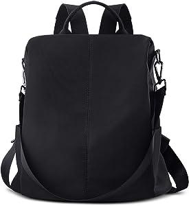 AtailorBird Women Backpack Purse, Mini Waterproof Nylon Anti-Theft Shoulder Bag 2 Ways Convertible Rucksack Schoolbag, Black