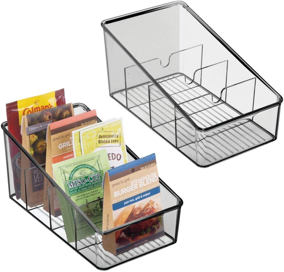 mDesign Plastic Food Packet Organizer Bin depot - Caddy Storage Great interest Statio