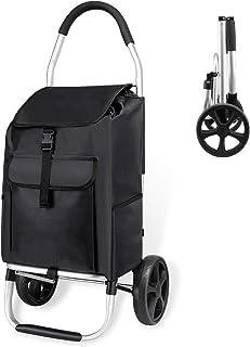 dotato di ruote tasca anteriore e chiusura zip Black Check Carrello porta spesa leggero e pieghevole