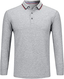 NeedBo Men's Long Sleeve Casual Solid Golf Polo Shirt