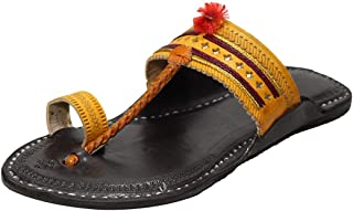 KALAPURI Ladies Comfortable Kolhapuri Chappal in Export Quality Genuine Leather with Black Pointed Shape Base and Traditio...