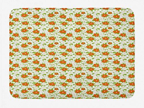 Area Rug 20' x 32' Entrance Mat, Poinsettia Bath Mat, Papercut Style Christmas Flowers, Plush Bathroom Decor Mat with Non Slip Backing, Lime Green Coconut Burnt Orange Pastel Yellow, Bath Rug