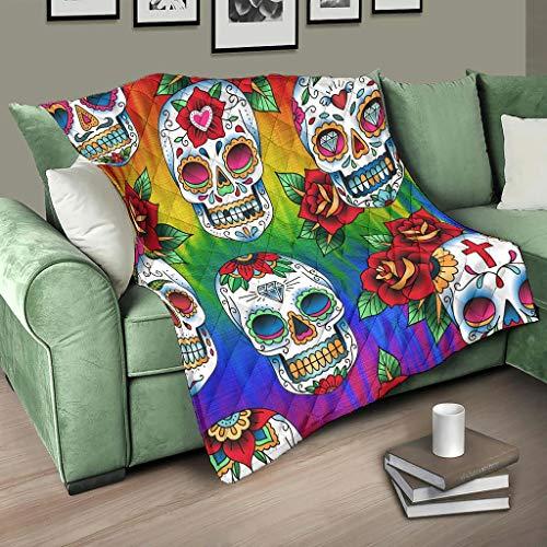 HMML Quilt Blanket Throw Calavera Halloween Rose Skull Light Weight Quilt Blanket for Watch TV White 68x80 inch