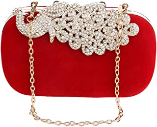 Runhuayou Women's Crystal Rhinestone Inlay Peacock Evening Clutch Dinner Bag Solid Gloss Velvety Chain Banquet Bag Bride Bags Great for Casual or Many Other Occasions Such (Color : Red)