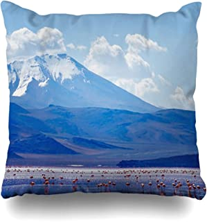 Ahawoso Throw Pillow Cover View Blue Amazing Nature Bolivia Travel Snow Border Chili Clouds Cold Design Home Decor Pillow Case Square Size 16x16 Inches Zippered Pillowcase