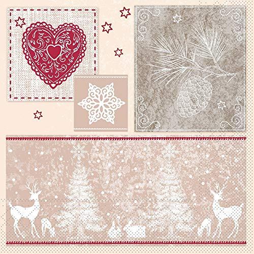 Sovie HORECA Serviette Karina |aus Tissue |Weihnachten Weihnachtsfest Xmas | extrem saugfähig | 40 x 40 cm, 100 Stück