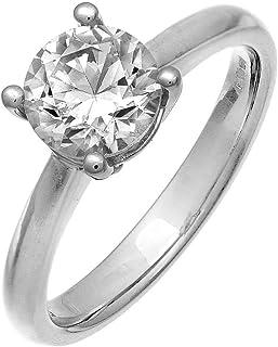 2e9f28e508a220 Naava 18ct White Gold Solitaire Engagement Ring, IJ/I Certified Diamond,  Round Brilliant