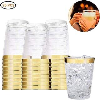 Kylewo Kunststoffbecher mit Goldrand, 25-teilige Einwegbecher aus durchsichtigem Kunststoff mit Goldrand, Hochzeitsbecher