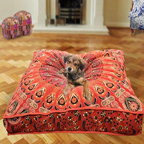 GANESHAM Indian Seating Dog Bed Boho Floor Pillow Bohemian Tapestry Handmade Pouf Ottoman, Mandala Cotton Cushion Cover Throw pet beds Children Bedding Pouf cat Bed Boho Decor (red)