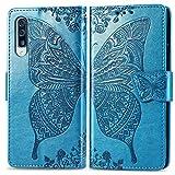 Bravoday Handyhülle für Samsung Galaxy A70 Hülle, Stoßfest PU Leder Tasche Flip Hülle Schutzhülle für Galaxy A70, mit Kartenfäch und Kickstand, Blau