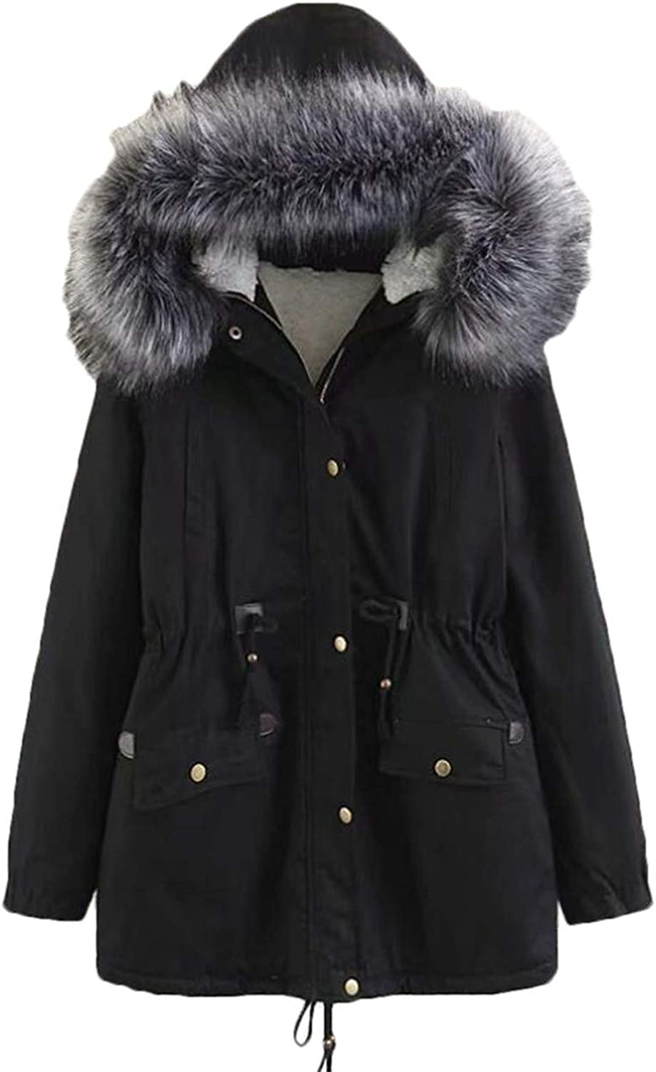 BLTR Women Winter Thicken Warm Coats Parkas Faux Fur Hooded