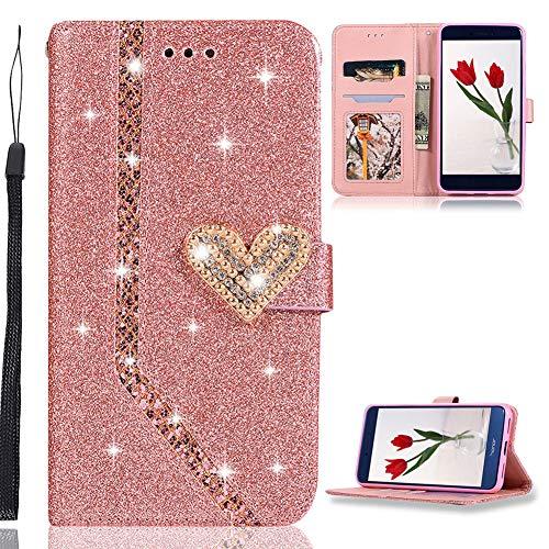 ZCXG Glitzer Handyhülle für Huawei P8 Lite 2017 Hülle Leder Rose Gold Glitzer Flip Dünn Tasche mit Diamant Schnalle Magnet Kartenfach Brieftasche Mädchen Hülle Silikon Schwarz Innere Klappbar