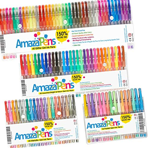 Maxi Gel Pens for Coloring Books for Adults - Ultimate Colored Pen Bundle of 106 Unique, Bold Colored Pens That POP - Archival Quality. 150% More Ink - Create 2.5X