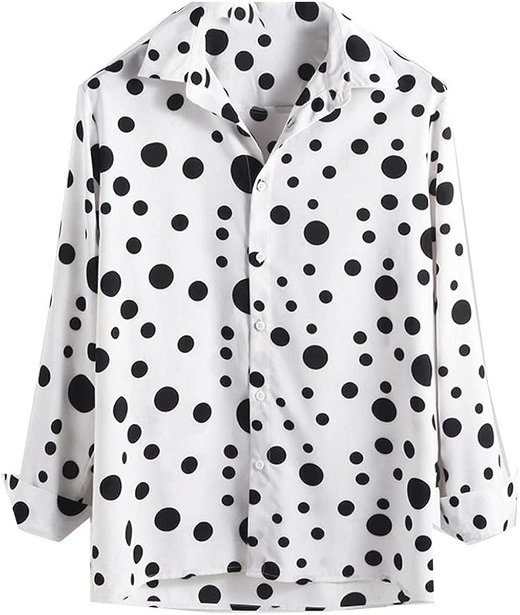 Men's Slim Big Dot Long Sleeve Shirt Business Fitness Casual Lapel Collar Button Top