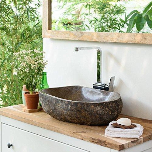wohnfreuden Steinwaschbecken oval ca 50 cm groß für Bad & Garten mit Unikatauswahl nach dem Kauf aus Naturstein Bildergalerie