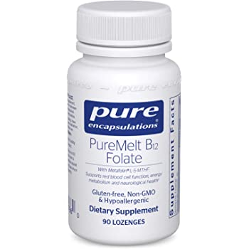 Pure Encapsulations - PureMelt B12 Folate - Sugar-Free Dissolvable Lozenge with 1,000 mcg Vitamin B12 and Active Folate (as Metafolin L-5-MTHF) - 90 Lozenges
