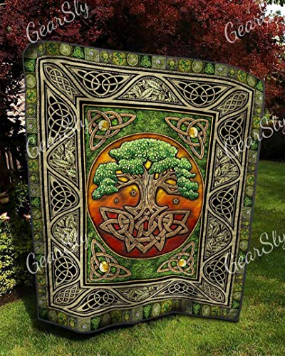 Vintage Design Celtic Tree of Life Pattern Quilt King Size - All Season Comforter with Cotton Quilt Queen/King/Twin - Best Decorative Unique Banklet for Traveling, Picnics, Beach Trips, Gifts