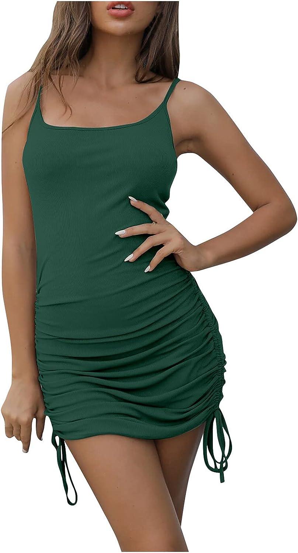 WINGERER Spaghetti Strap Dress Womens Sexy Drawstring Basic Bodycon Club Party Mini Dresses
