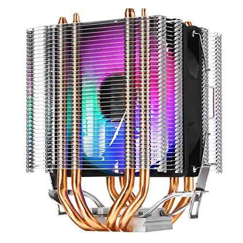 WZhen Ventilador individual de 12 V Rgb de 4 hilos 4 Heatpipe doble torre disipador de calor ventilador de refrigeración ultra silencioso para Intel Lag 1155 1156 775 para Amd Socket Am3/Am2