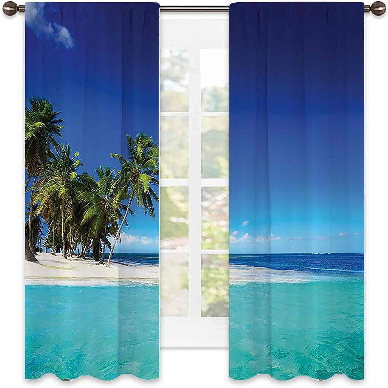Beach Ocean Decor 90% Blackout Seaside Curtains N Tropical Award-winning Daily bargain sale store View