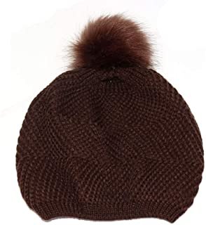 SHENLIJUAN Knitted Wool Ball Wool hat Autumn and Winter Couples hat Casual Fashion Student hat (Color : Coffee, Size : 56-58cm)