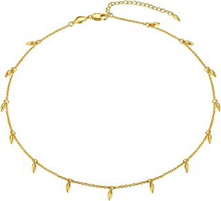 FOCALOOK Choker Necklace for Women Girls, 14+2 Inches 18K Gold Plated Statement Star Heart Simple Single or Double Layer C...